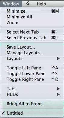 soundtrack pro window drop down menu