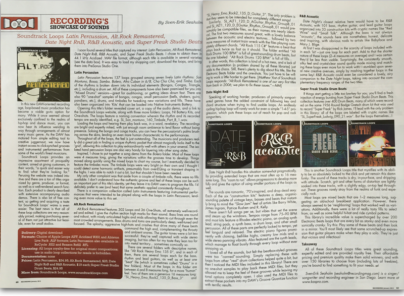 Soundtrack Loops Featured in Recording Mag - January 1st 2015 Edition Inside 2 page layout