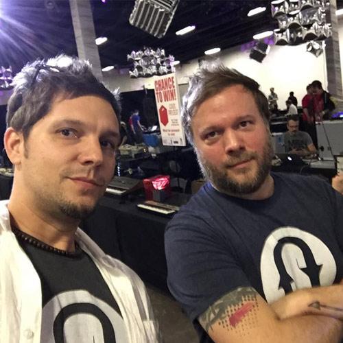 Jason and Matt Wearing Soundtrack Loops Tee's