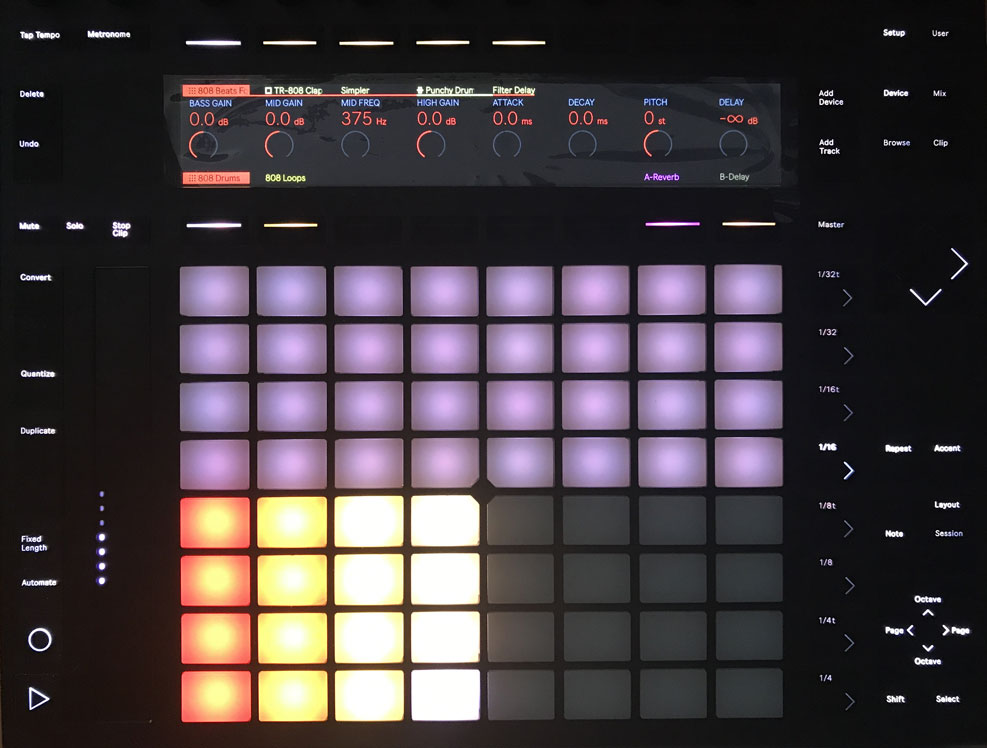 Bonus 808 Drum racks and One-shots for Dark Trap displayed on Push 2